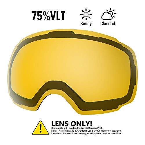 OutdoorMaster Ski Goggles PRO Replacement Lens - 20 (VLT 75% Polarized Yellow Lens with Free Carrying Pouch)
