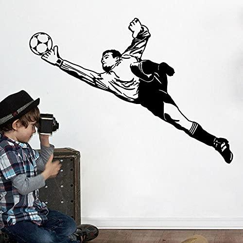 Adhesivo decorativo para pared, diseño de portero, fútbol, fútbol, deportes, sala de juegos, sala de juegos, español, Francia, jugador atleta, decoración de vinilo para dormitorio, 81 x 56 cm