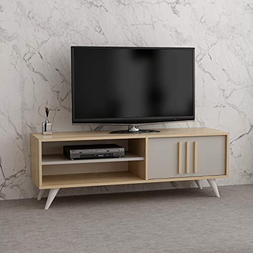 Reboz TV Lowboard 138 x 40 cm Ahorn Nachbildung Grau Fernsehtisch