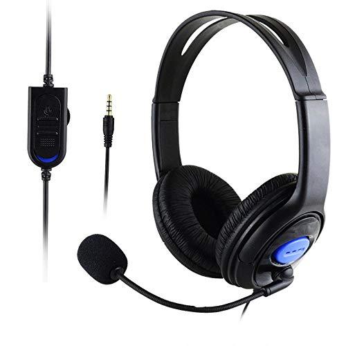 Mazu Homee PS4 juego de auriculares, con cable bilateral juego de auriculares grandes, con micrófono, conector de 3,5 mm, adecuado para PC portátil, tableta Mac smartphones