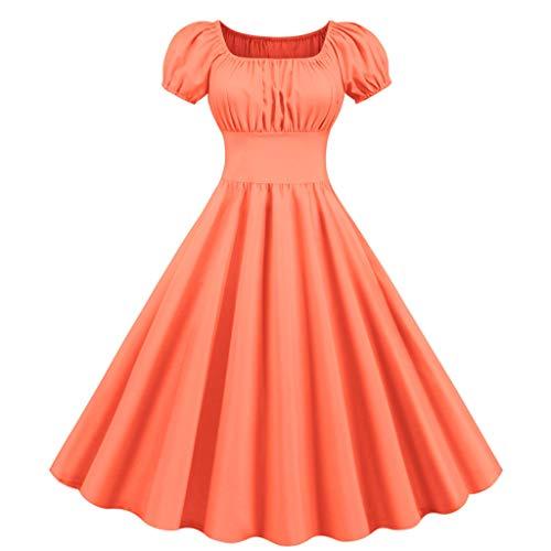 Vrouwen 50s 60s Vintage Party Swing Jurk Dames Korte Mouw Elegante Effen Kleur Vierkante Hals Retro Zomer Jurk