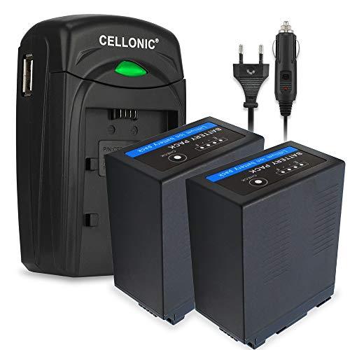 CELLONIC 2X Akku kompatibel mit Panasonic HC-X1000 HC-X1 AG-CX350 AG-DVX200 AG-AC30 -AC8 AG-UX180 HC-MDH2 AJ-PX270, VW-VBD29 VW-VBD58 VW-VBD78 CGA-D54 AG-VBR59 7800mAh + Ladegerät Ersatzakku Batterie
