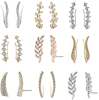 MERNARLAR 9 Pairs Gold Silver Rose Gold Crystals Ear Cuffs Earrings Simple Chic Hollow Leaf Crystal Ear Crawlers Earrings Set Hypoallergenic Earring