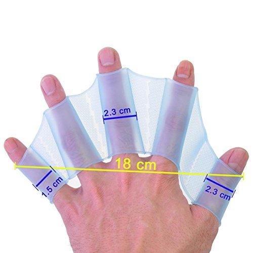 tmodd Silikon Schwimmen Gear flossen Hand gewebter Flossen Training Handschuh L Größe 18x 6,1x 0,3cm blau