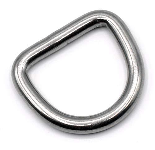 HEAVYTOOL D-Ringe 20mm x 3mm geschweißt Edelstahl AISI 316 (V4A) [10 Stück]