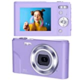 toberto Digital Camera, 1080P HD Vlogging LCD Mini Camera with 16X Zoom 36MP Digital Point and Shoot Camera Video Camera, for Kids Students Beginners Beauty Face (Purple)