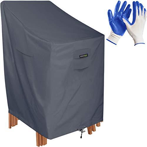 smartpeas Stuhlabdeckung für Gartenstühle -120 * 75 * 65cm- Abdeckung Stapelstuhl/Schutzhülle für Gartenmöbel wie Stapelstühle, Gartenstuhl +Gartenhandschuhe