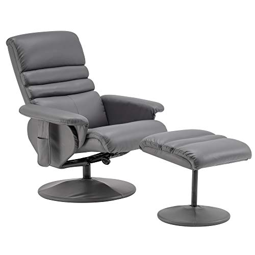 Mcombo Recliner with Ottoman, Reclining Chair with Massage, 360 Swivel Living Room Chair Faux Leather, 7902 (Grey)