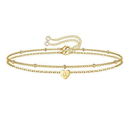 Turandoss Layering Initial Bracelets for Women, 14K Gold Filled Layered Bracelet Letter Initial Bracelets for Women Girls Jewelry Gifts Bracelet with Initials G
