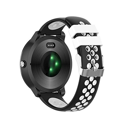 Urtone Siliconen Horlogebandjes voor Garmin Vivoactive 3,20mm Vervangende Band Accessoires Bands met Verstelbare Sluiting voor Vivoactive 3 Muziek/Forerunner 645 Muziek/Vivomove HR Smartwatch