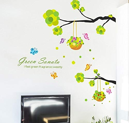 YUNZHIFU tak bloemenmand slaapkamer decoratie muursticker plant vliegtuig muurschildering tuin raam afneembare DIY wand poster 103x95 cm