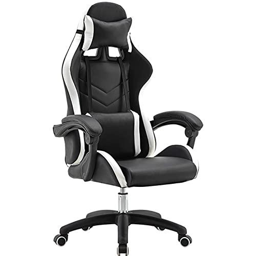 Silla de juegos, ergonómica para ordenador, respaldo alto, silla de oficina, silla de escritorio con apoyabrazos reposacabezas y soporte lumbar para PC, para adultos, adolescentes, color negro