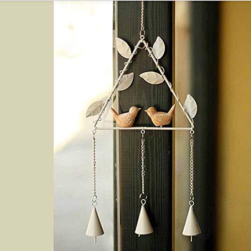 Vosarea Windspiel mit Vogel, aus Eisen, Vintage-Windglocke, zum Aufhängen, für Innen- und Außenbereich, Weiß