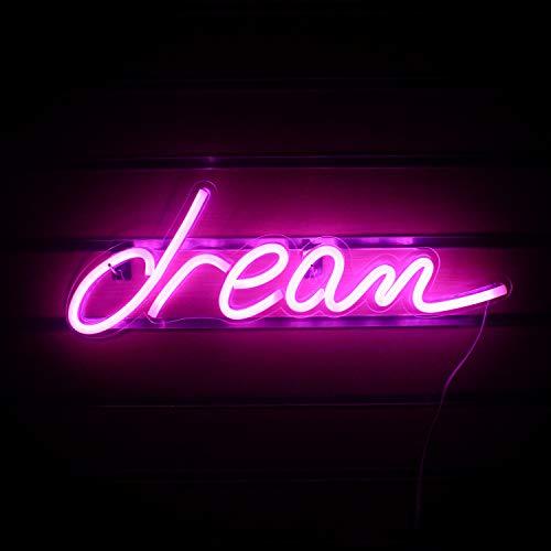 Dream Letreros de neón, luces de neón con forma de sueño rosa, luces nocturnas para decoración de habitaciones, bares, bares, cafetería, Navidad, decoración de pared, letrero (17.9 '' × 6.2 '')