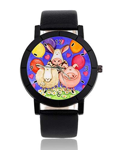 Reloj de pulsera personalizado de ovejas y ganado, informal, correa de piel negra, para hombres y mujeres, unisex