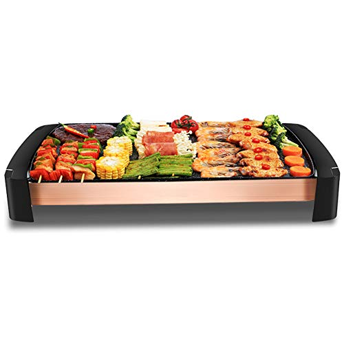 BBQ grill CoréEn Barbecue Gril, éLectrique Plaque Teppanyaki sans FuméE Plateau AntiadhéSif Plat Chaud Gril De Table pour IntéRieur Un Barbecue Jardin 1800w