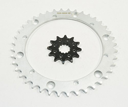 04-05 fits Yamaha YFM660R Raptor 660 12 Tooth Front & 40 Tooth Rear Silver Sprocket