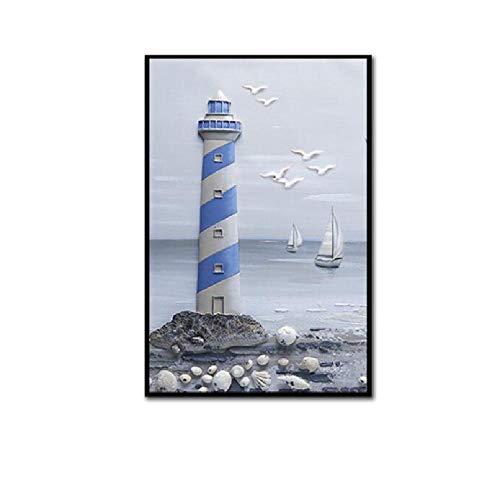 SCLPOSTER Carteles y Grabados nórdicos Mar Faro Paisaje Lienzo Pintura Paisaje Marino Cuadros de la Pared para la decoración del hogar Cuadros de Arte de la Pared D 40 * 50cm