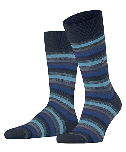 Burlington Herren Organic Stripe Socken, blau (Marine 6120), 40-46