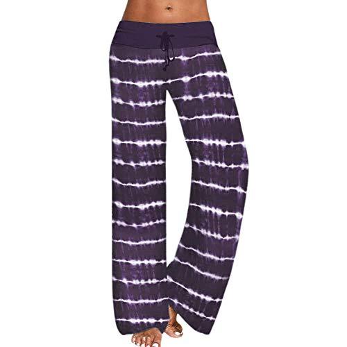 B H Pilates Fitness Fitness Pantalone,Pantalones Holgados de Yoga Estampados, Pantalones Deportivos de Pierna Ancha-Violeta_L, Leggings Fitness No Transparenta