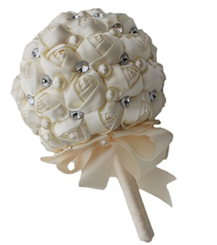 Quibine Bouquet de Mariage Bouquet de Fleurs Rose Satin Perle Strass pour Mariée Demoiselle d'Honneur, Dia: 21cm, Crème
