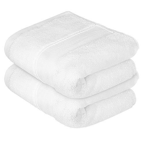 Lirex Juego de Toallas, Pack de 2 35 x 75 cm Toallas de Manos Premium Ultra Suaves Juego Toallas 650GSM para Baño, Hand Towel de 100% Algodón - Blanco
