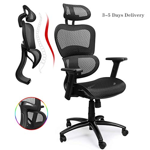 Hoch Rücken Ergonomischer Bürostuhl, Schreibtischstuhl mit Ring Lordosenstütze, verstellbarer 3D-Armlehne, Höhe, Rückenlehne und Kopfstütze,Verstellbare Wippfunktion Atmungsaktives Mesh (Schwarz)