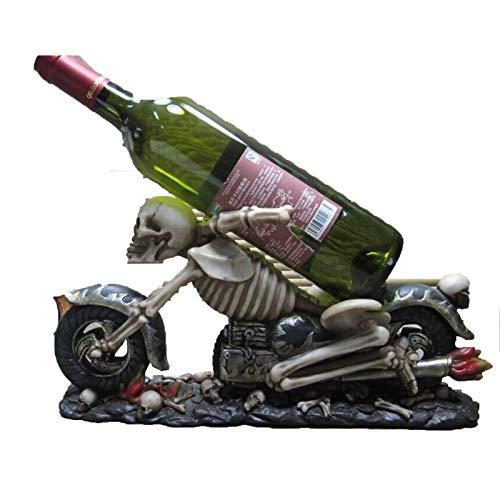 Botellero de Vino Estante de vino, modelo de motocicleta personalizada Modelo de motocicleta de vino Decoración de resina Skull Head Tabho Wareware Adorno Accesorios para amantes del vino o invitados