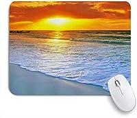NIESIKKLAマウスパッド 熱帯のビーチの夕日の風景 ゲーミング オフィス最適 高級感 おしゃれ 防水 耐久性が良い 滑り止めゴム底 ゲーミングなど適用 用ノートブックコンピュータマウスマット