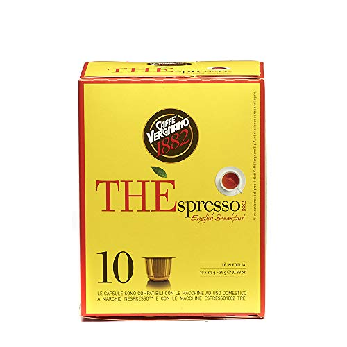 Caffè Vergnano 1882 THÈspresso Nespresso kompatible Teekapseln, English Breakfast - Packung enthält 10 Kapseln