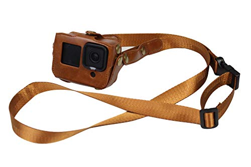 PU Leather Case for GoPro Hero 9 Action Camera Frame Mount Housing with Adjustable Neck/Waist Strap Accessories Brown