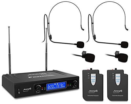 Audibax - Missouri 2500-1 - Micrófono Inalámbrico Profesional Doble - Set de 2 Micrófonos Tipo Lavalier / 2 Micrófonos Tipo Madona - Receptor Display - Rango de Cobertura 80 metros - Frecuencia B