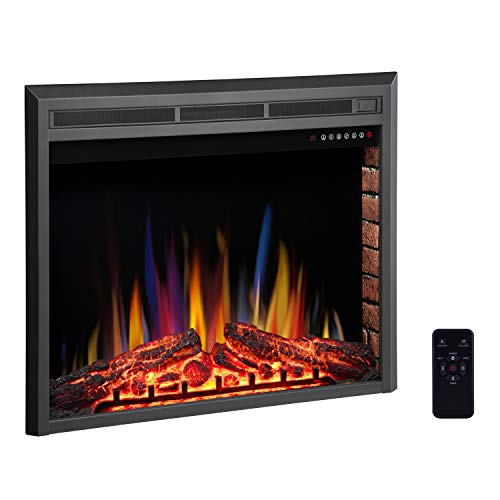 "R.W.FLAME 36"" Electric Fireplace Insert,Freestanding & Recessed Electric Stove Heater,Touch Screen,Remote Control,750W-1500W with Timer & Colorful Flame Option"
