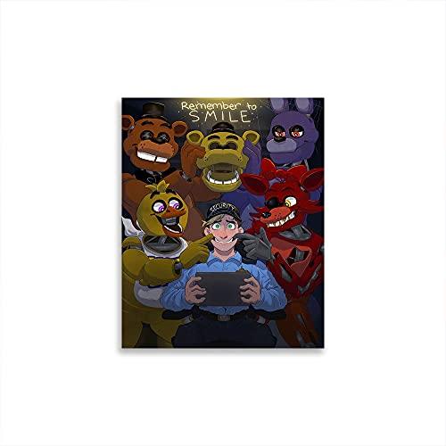 Póster de pared de madera con texto en inglés 'Five Nights At Freddy's Girls Boys para colgar para arte de pared, imágenes, estampados, lienzo de 61 x 91 cm