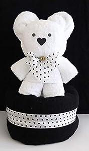 """Handtuchfigur""""Teddybär in weiß auf schwarz"""""""
