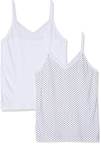 Ulla Popken dames eendelige pyjama spaghettidragerhemd DoPa, punten, grote maten, (wit 20), (fabrikantmaat: 54+)