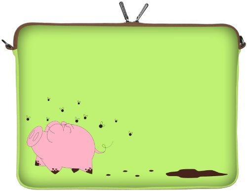Digittrade LS158-11 Happy Piggy Designer Netbook Hülle 11,6 Zoll (29,5 cm) passend für Tablet 11 bis 12 3 Zoll Neopren Schutz-Hülle Tasche Schweinchen rosa-grün