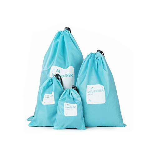 Qiajie 4 PCS PortableTravel Bags Waterproof Luggage Organizer Bag Folding Drawstring Travel Bags for Outdoor Sport School Home Travel