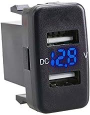 Jomiaeslion Bil USB-laddare, universell 2 port billaddare adapter laddare USB snabbladdning C bil USB-uttag lämplig för Toyota-modeller etc. (blå)