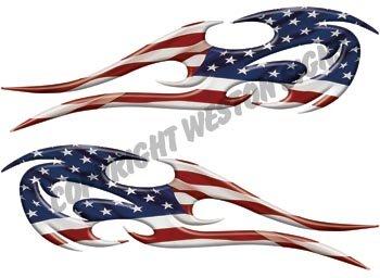 Tribal American Flag Flames - 2  h x 7  w - REFLECTIVE
