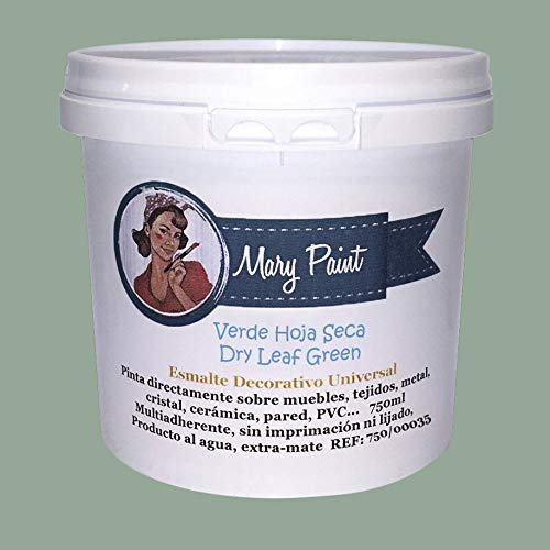Mary Paint | Pintura para muebles efecto Chalk Paint, Verde Hoja Seca - 750ml