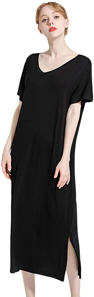 Nanxson Camicia da Notte Donna Pigiama Manica Corta Biancheria da Notte Casuale Scollo a V Indumenti da Notte SQW0013