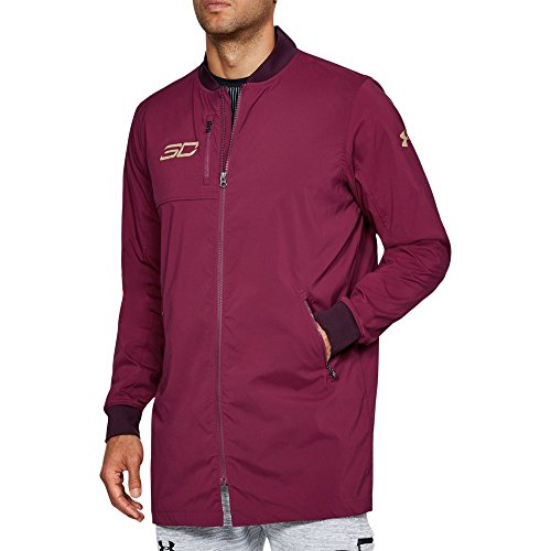 Under Armour Men's Curry Life Long Range Bomber Top, Black Currant /Metallic Gold, X-Large Tall
