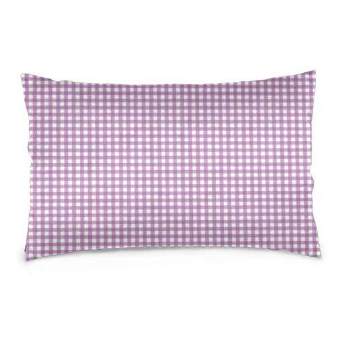 Lavanda Gingham Funda de almohada Protector de almohada decorativo suave y acogedor tamaño Queen estándar 50,8 x 76,2 cm con cremallera oculta