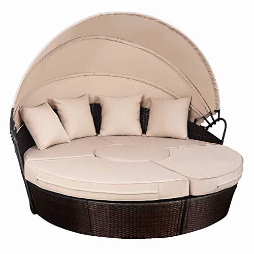 TANGKULA Patio Furniture Outdoor Lawn Backyard Poolside Garden Round