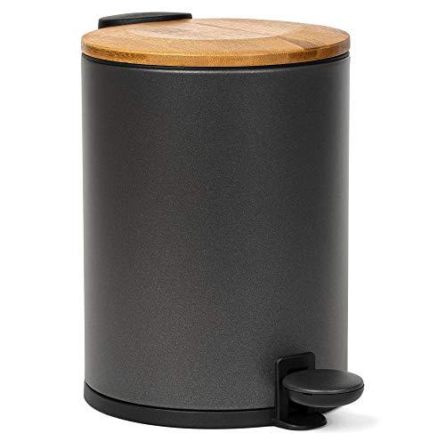 Kazai® Bambus Kosmetikeimer | Absenkautomatik und Rutschfest | 3 Liter | Schwarz