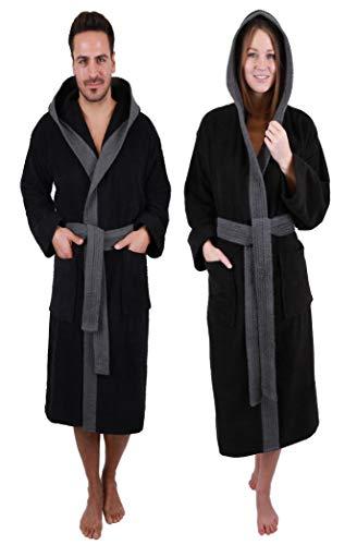 Betz Bademantel mit Kapuze Paris 100% Baumwolle für Damen und Herren 2-farbig Größe S-XXL Größe XL - schwarz-anthrazit