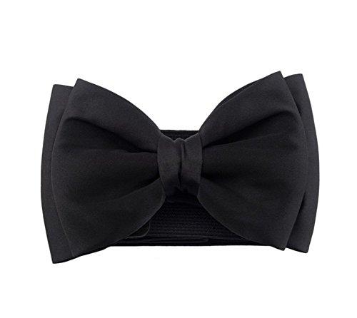 Westeng Frauen breiter Taillengürtel Elastischer Stretchgürtel Wölbungs Bund Bowknot für Lady 68cmx6cm,Schwarz