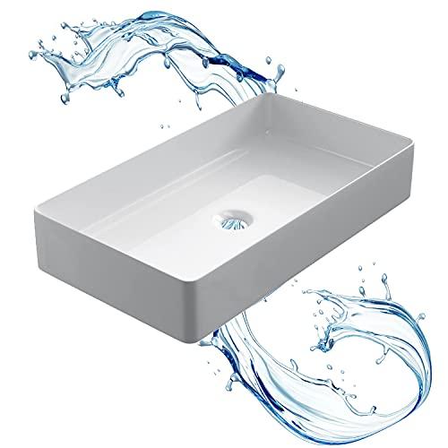 STARBATH PLUS - Lavabo su piano rettangolare bianco senza foro per rubinetto - Piano bagno - Lavabo su piano in ceramica - 61 x 35 x 11 cm