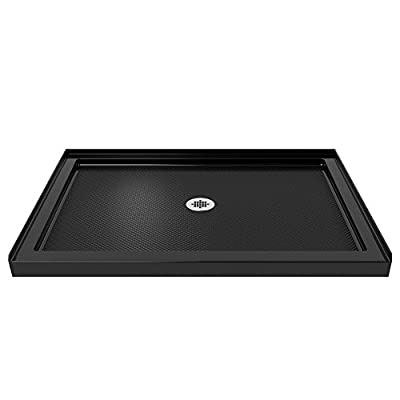 DreamLine SlimLine 32 in. D x 48 in. W x 2 3/4 in. H Center Drain Single Threshold Shower Base in Black, DLT-1132480-88